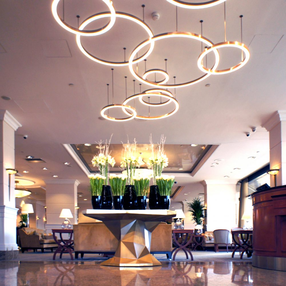 Welcome table and circular pendant lights for the InterContinental hotel Budapest